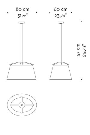 Dimensions of Pia, a bronze hanging LED lamp with a hand-embroidered lampshade, from Promemoria's catalogue | Promemoria