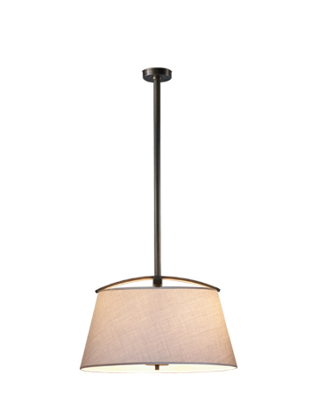 Pia is a bronze hanging LED lamp with a hand-embroidered lampshade, from Promemoria's catalogue | Promemoria