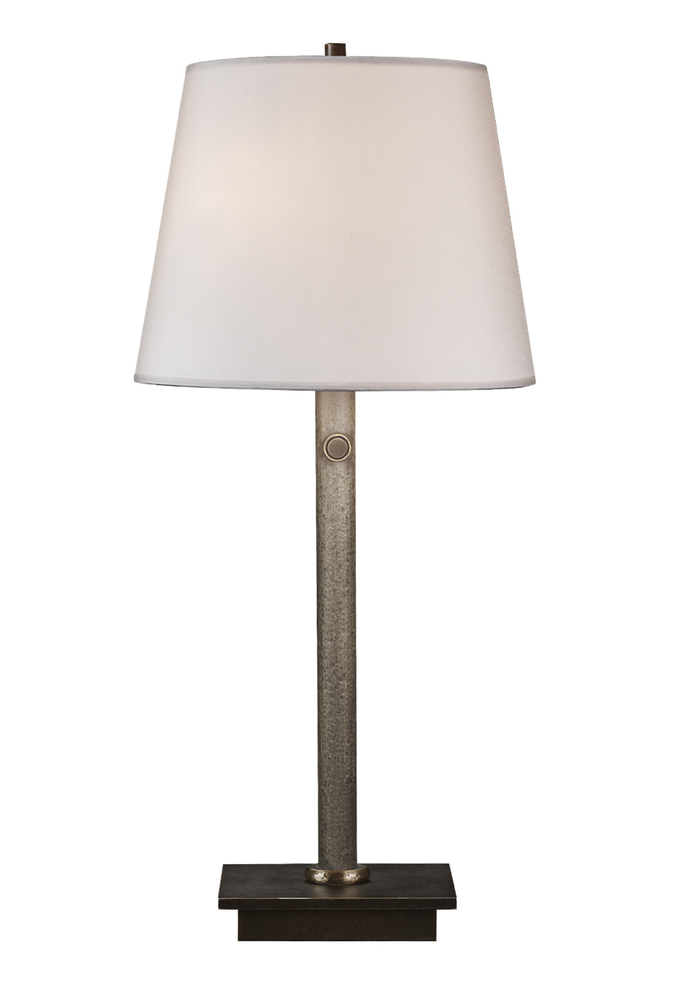 Cecile is a table LED lamp with bronze structure, linen, cotton or hand-broidered silk lampshade and methacrylate diffusers, from Promemoria's catalogue | Promemoria