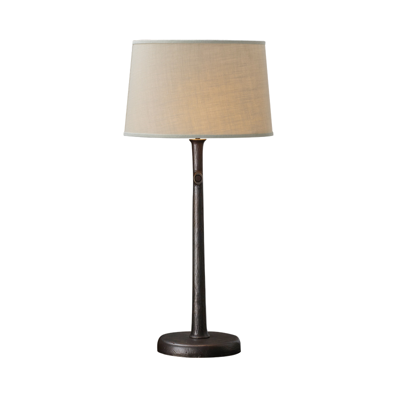Françoise is a table LED lamp with bronze structure and linen, cotton or hand-broidered silk lampshade, from Promemoria's catalogue | Promemoria