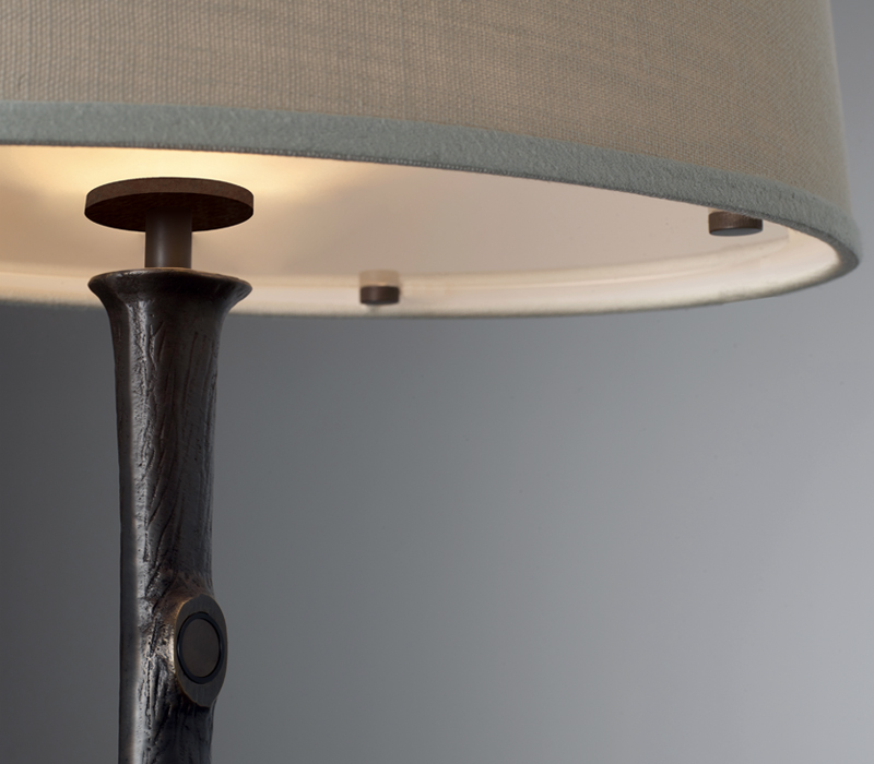 Detail of Françoise, a table LED lamp with bronze structure and linen, cotton or hand-broidered silk lampshade, from Promemoria's catalogue | Promemoria