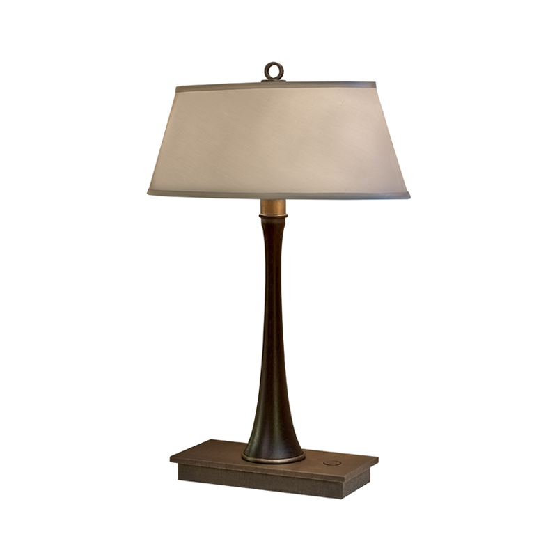 Geraldine is a table LED lamp with wooden structure, bronze base and linen, cotton or hand-embroidered silk lampshade from Promemoria's catalogue | Promemoria