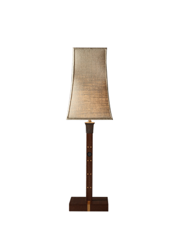 Ida is a table LED lamp with wengè structure, bronze detail and linen, cotton or hand-embroidered silk lampshade, from Promemoria's catalogue | Promemoria