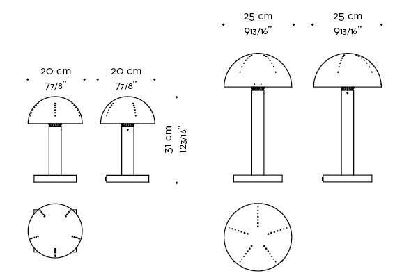 Dimensions of Luciola, a table LED lamp available in bronze, chrome or nickel, from Promemoria's catalogue | Promemoria