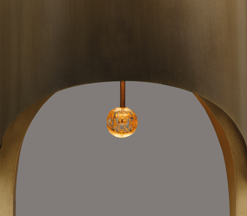 Murano glass pendant detail of Mimì, a table lamp with bronze structure, from Promemoria's Capsule Collection by Bruno Moinard | Promemoria