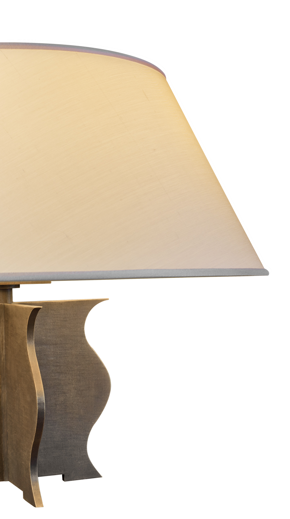 Detail of Renè, a table and bedside LED lamp, with bronze structure, methacrylate diffusers and linen, cotton or hand-embroidered silk lampshade, from Promemoria's catalogue | Promemoria