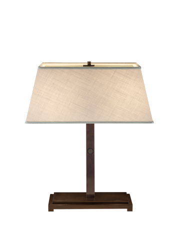Warry Bronzo is a table LED lamp with bronze structure and linen, cotton or hand-embroidered silk lampshade, from Promemoria's catalogue | Promemoria