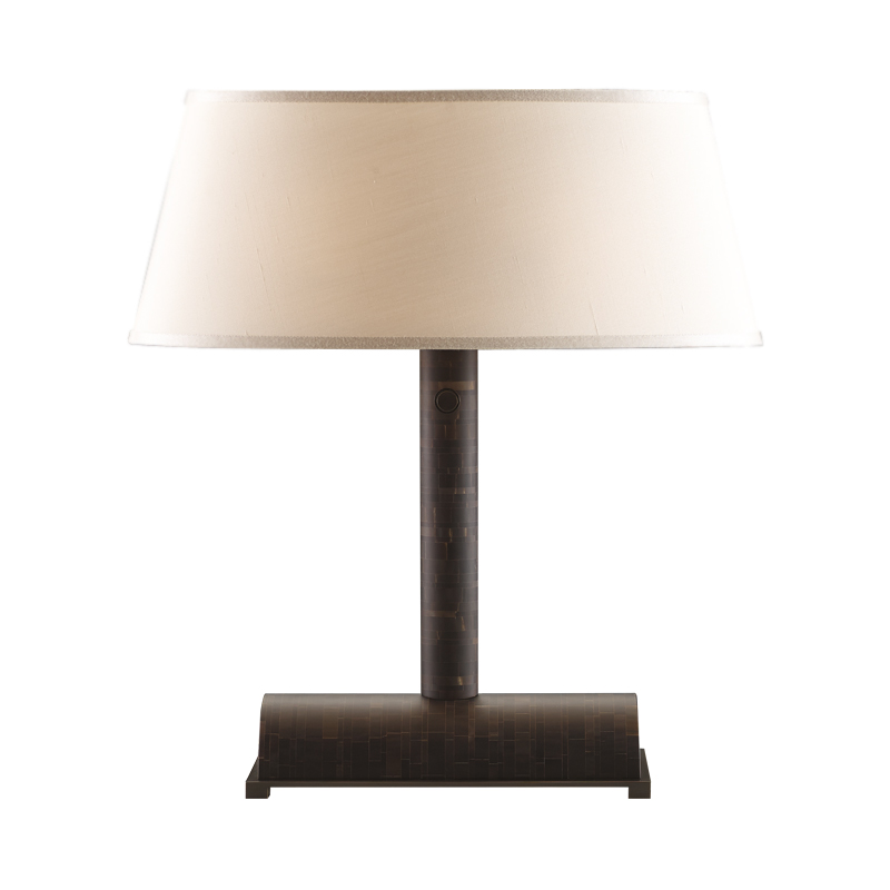 Zebù is a table LED lamp with a horn structure, bronze base and details and linen, cotton or silk lampshade, from Promemoria's catalogue | Promemoria