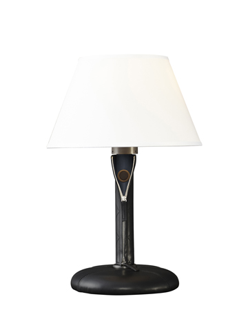 Zip is a table LED lamp with wooden structure or covered in leather and fabric with bronze details and linen, cotton or silk lampshade with handmade edge, from Promemoria's catalogue | Promemoria