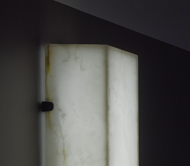 Detail of Karina, a wall bronze and onyx LED lamp, from Promemoria's catalogue | Promemoria