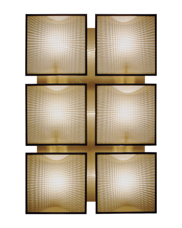 Teresa is a modular bronze wall lamp with a glass diffuser with linen, cotton or silk insert, from Promemoria's catalogue | Promemoria
