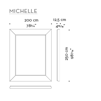 Dimensions of Michele, a large mirror with a wooden frame from the Promemoria's catalogue | Promemoria