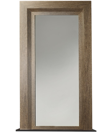 Mondù is a wall mirror with a wooden structure and a bronze base from the Promemoria's catalogue | Promemoria