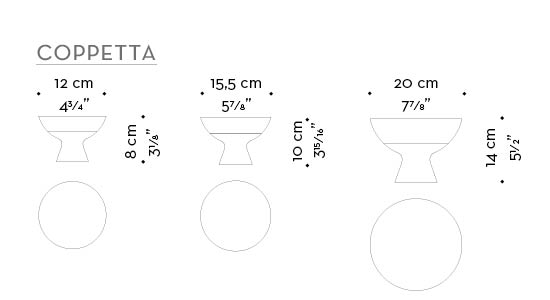 Dimensions of Coppetta, a bronze and wooden vase from Promemoria's catalogue | Promemoria