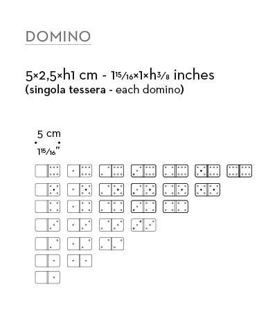 Dimensions of wooden game set of dominoes available with leather box, from Promemoria's catalogue | Promemoria