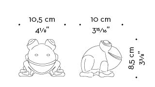 Dimensions of Rana in Vetro di Murano, a Murano glass frog, Promemoria's mascotte, available in several different colors, from Promemoria's catalogue | Promemoria