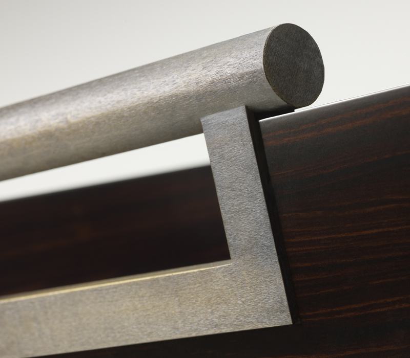 Bronze handles detail of Alfred, a wooden tray from Promemoria's catalogue | Promemoria