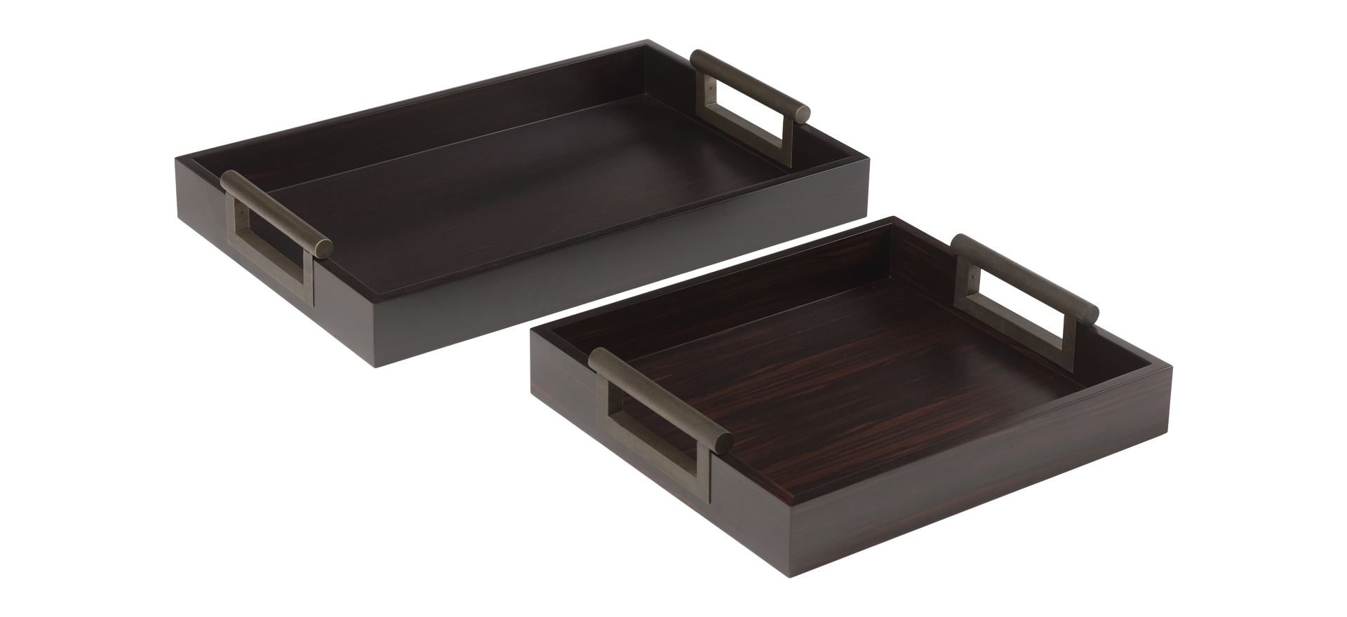 Alfred is a wooden tray with bronze handles, from Promemoria's catalogue | Promemoria