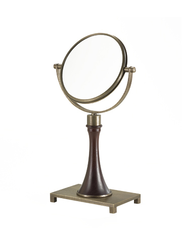 Geraldine is a wooden and bronze double tilting table mirror, from Promemoria's catalogue | Promemoria