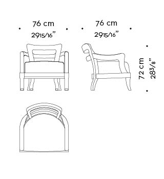 Dimensions of Topazia, an outdoor wooden armchair covered in fabric or leather with bronze feet, from Promemoria's outdoor catalogue | Promemoria