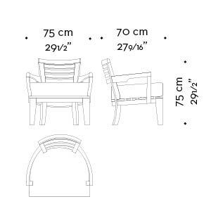 Dimensions of Varenna, an outdoor wooden armchair with a fabric or leather cushion from Promemoria's outdoor catalogue | Promemoria