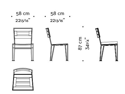 Dimensions of Cernobbio, an outdoor bronze chair without armrests, from Promemoria's outdoor calatague | Promemoria