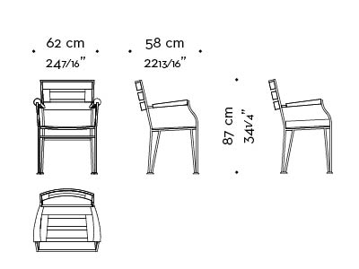 Dimensions of Cernobbio, an outdoor bronze chair with armrests, from Promemoria's outdoor calatague | Promemoria