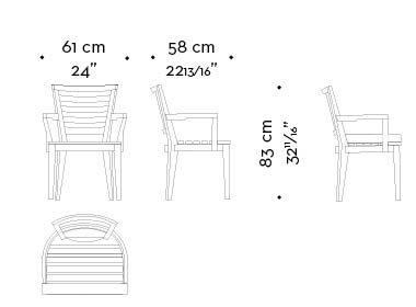 Dimensions of Varenna, an outdoor wooden chair with or withour armrests and fabric or leather cushion, from Promemoria's outdoor catalogue | Promemoria