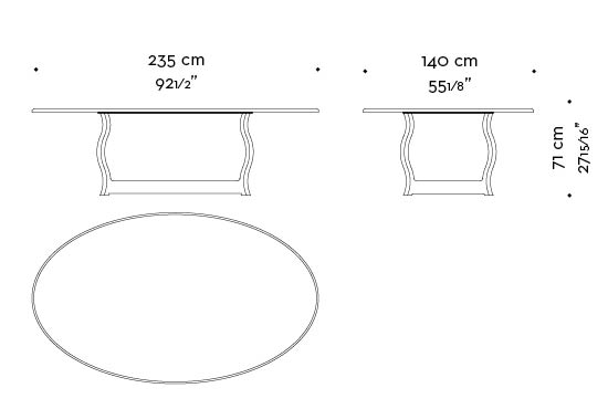 Dimensions of Erasmo, an outdoor dining table with bronze base and marble top, from Promemoria's outdoor catalogue | Promemoria