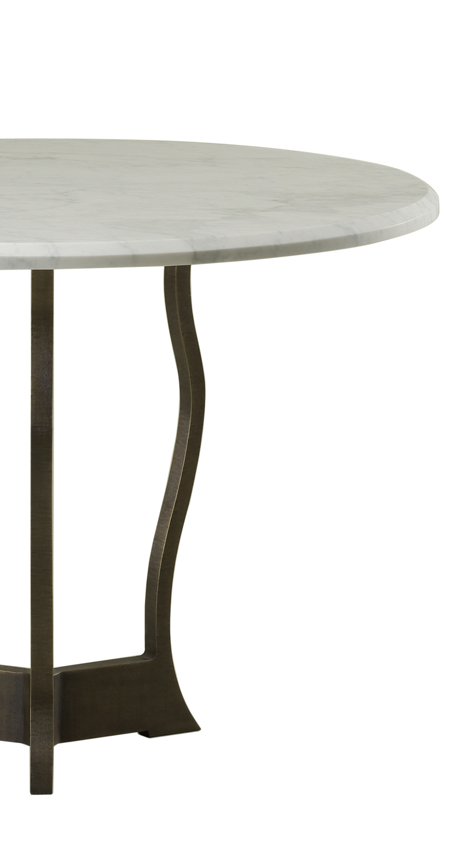 Detail of Erasmo, an outdoor dining table with bronze base and marble top, from Promemoria's outdoor catalogue | Promemoria