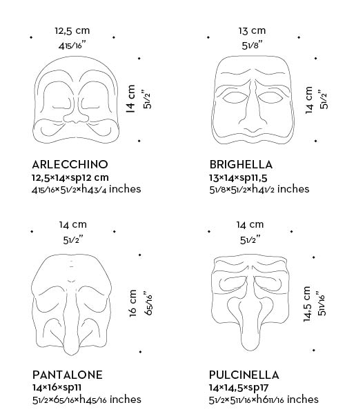 Dimensions of Maschera, a family of outdoor bronze wall lamps, from Promemoria's outdoor catalogue | Promemoria