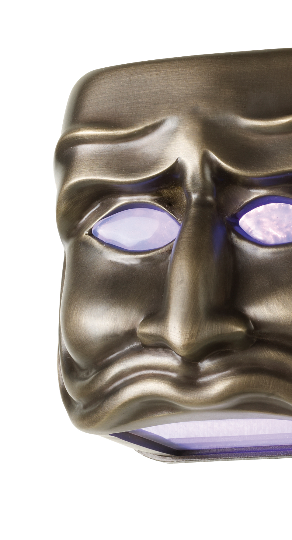 Detail of Maschera, a family of outdoor bronze wall lamps, from Promemoria's outdoor catalogue | Promemoria