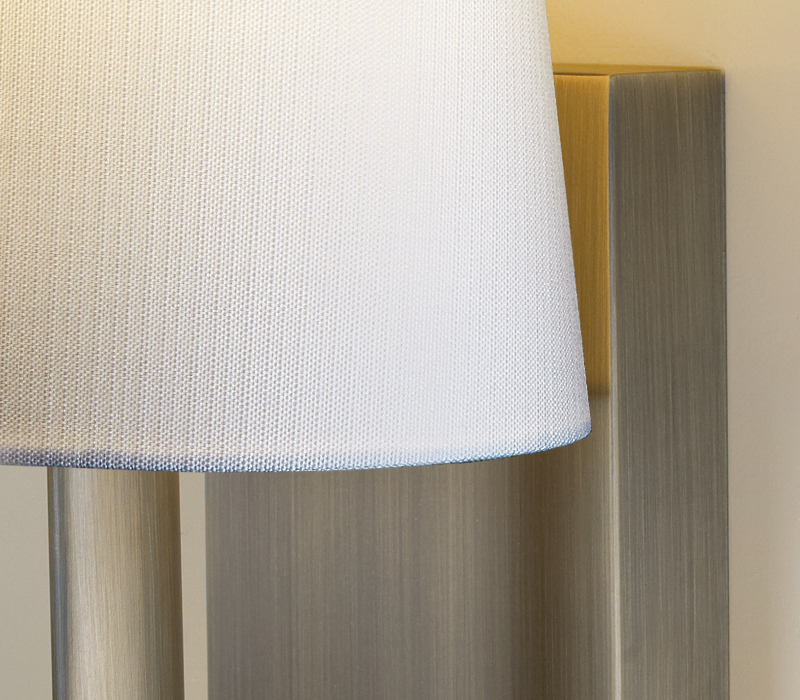 Detail of Rosa, a bronze outdoor wall lamp with fabric shade, from Promemoria's outdoor catalogue | Promemoria