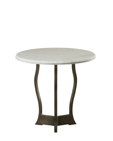 Erasmo is an outdoor small table with bronze base and marble top, from Promemoria's outdoor catalogue | Promemoria