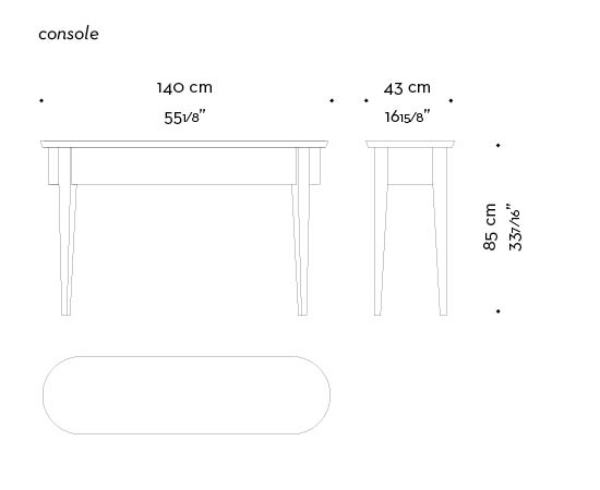 Dimensions of Lierna an outdoor marble console, from Promemoria's outdoor catalogue | Promemoria
