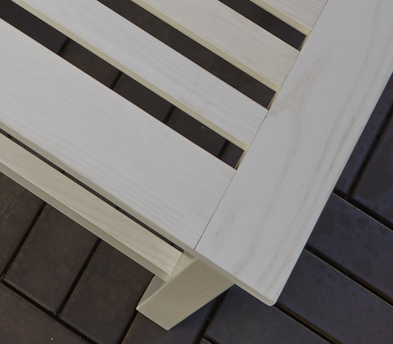 Detail of Tremezzo, an outdoor wooden small table from Promemoria's outdoor catalogue | Promemoria