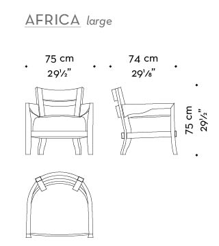 Dimensions of Africa Large, a wooden armchair covered in fabric or leather, from Promemoria's catalogue | Promemoria