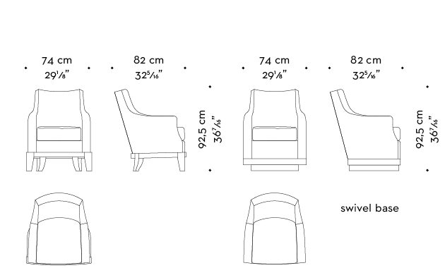 Dimensions of Aziza, a wooden armchair covered in fabric or leather, from Promemoria's catalogue | Promemoria