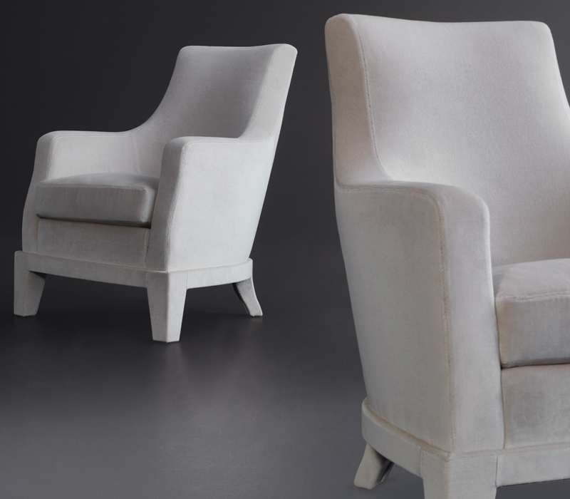 Aziza is a wooden armchair covered in fabric or leather, from Promemoria's catalogue | Promemoria