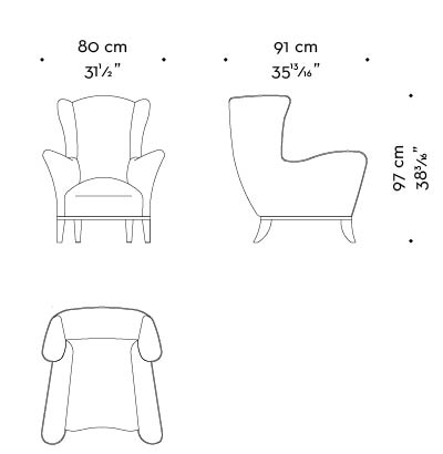 Dimensions of Bluette, a wooden armchair covered in fabric or leather, from Promemoria's Night Tales collection | Promemoria