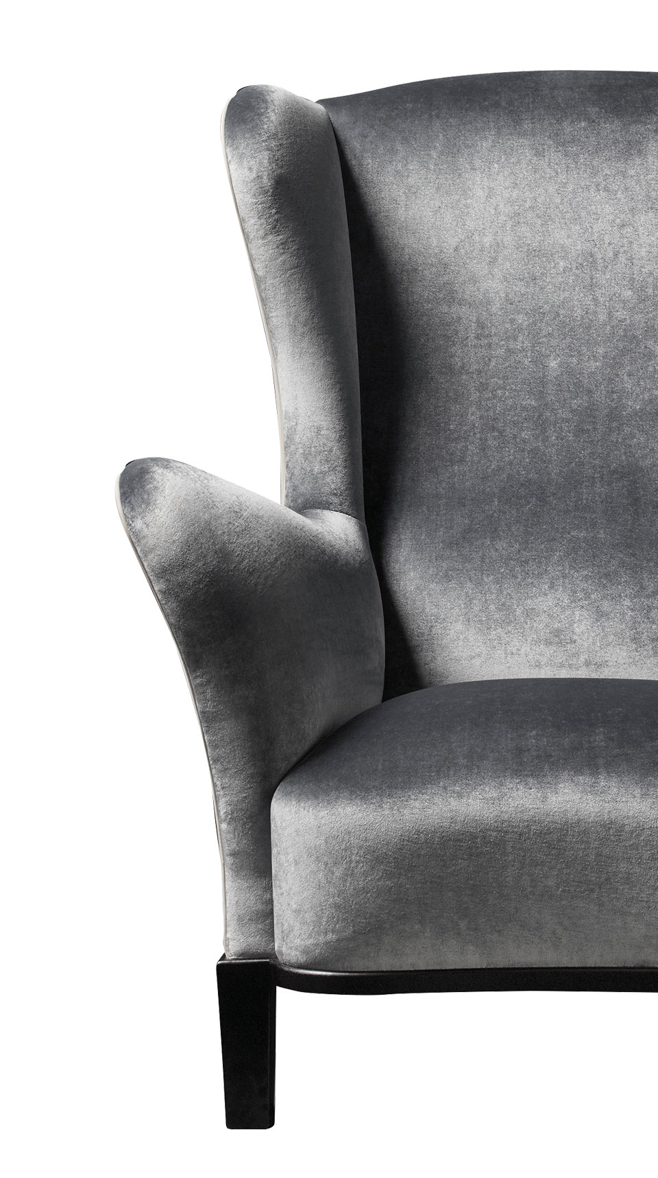 Detail of Bluette, a wooden armchair covered in fabric or leather, from Promemoria's Night Tales collection | Promemoria