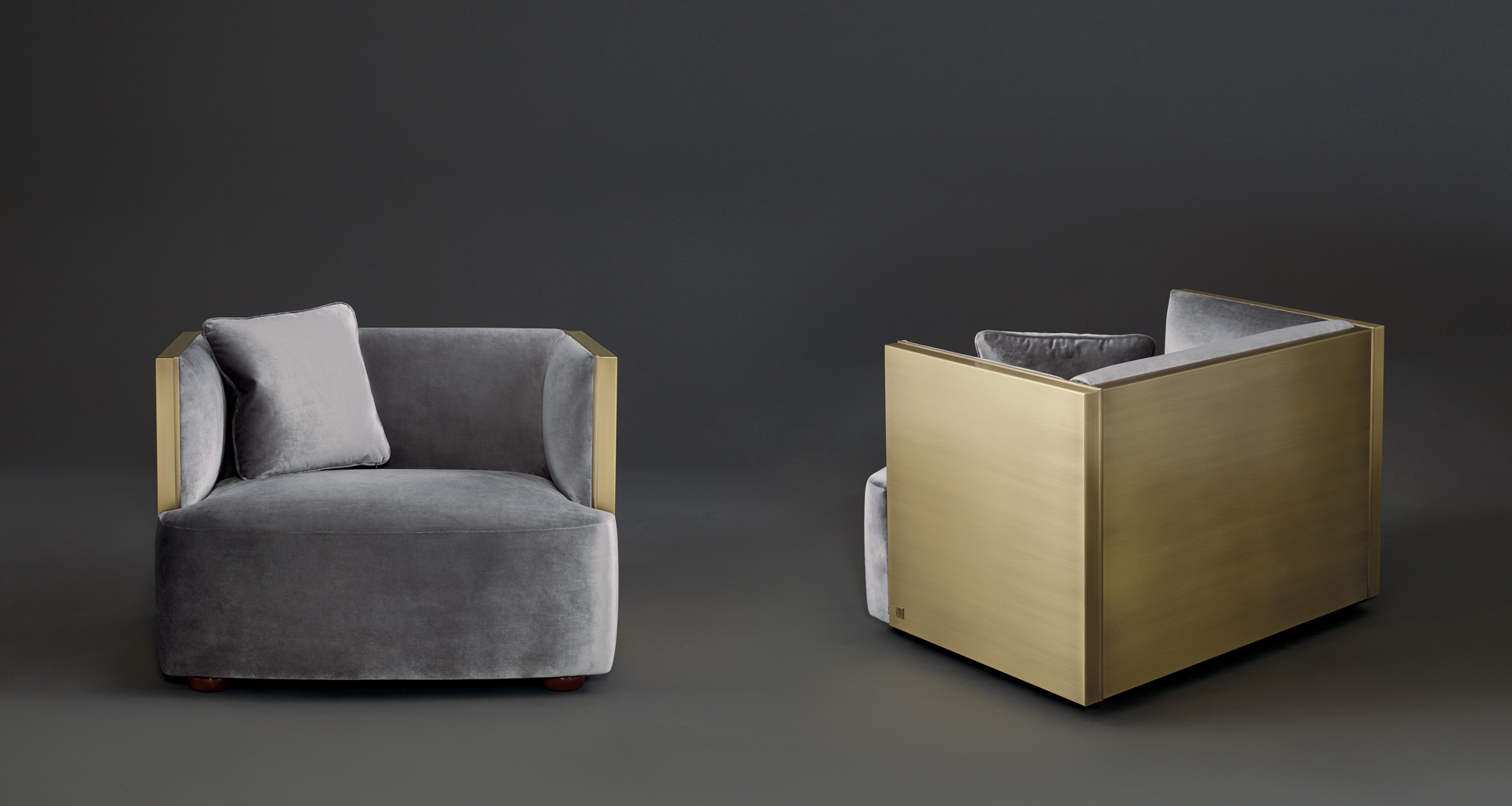 Bronze structure detail pf Boccaccio, a bronze armchair covered in fabric, from Promemoria's catalogue | Promemoria