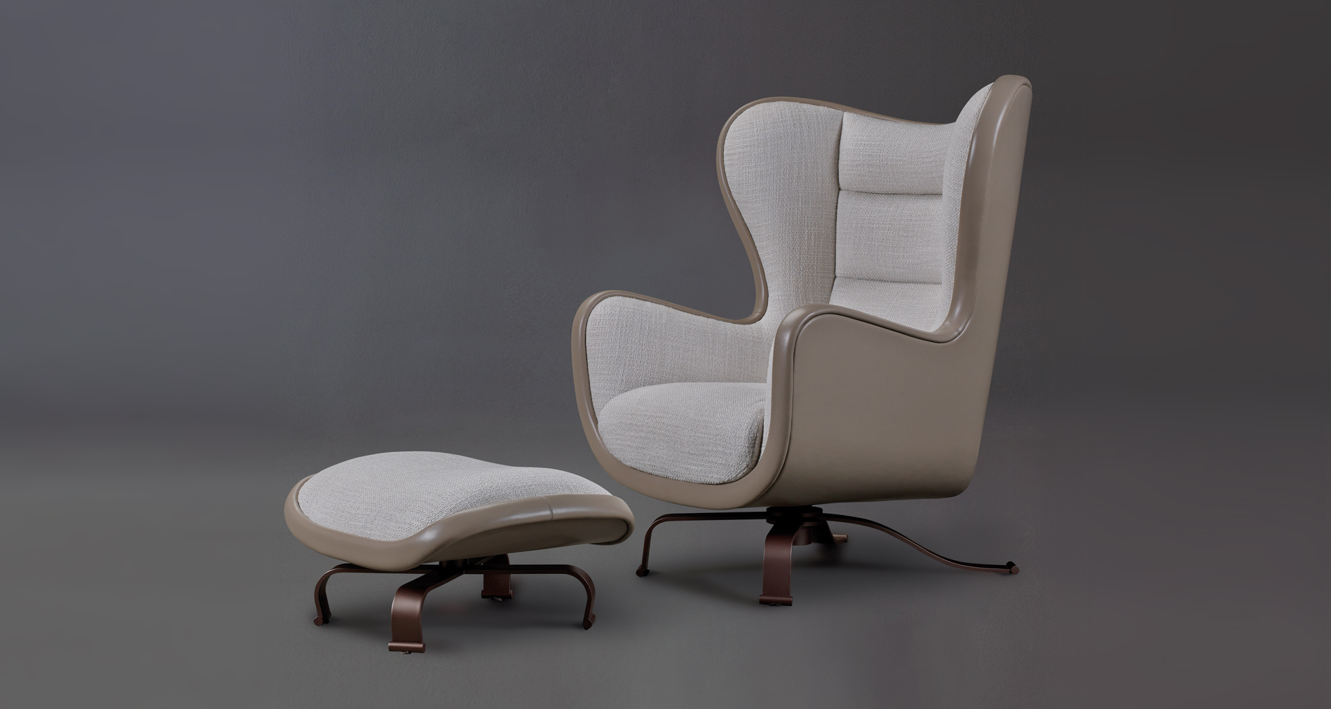 Butterfly is an armchair covered in fabric and leather with a revolving bronze base, from Promemoria's catalogue | Promemoria