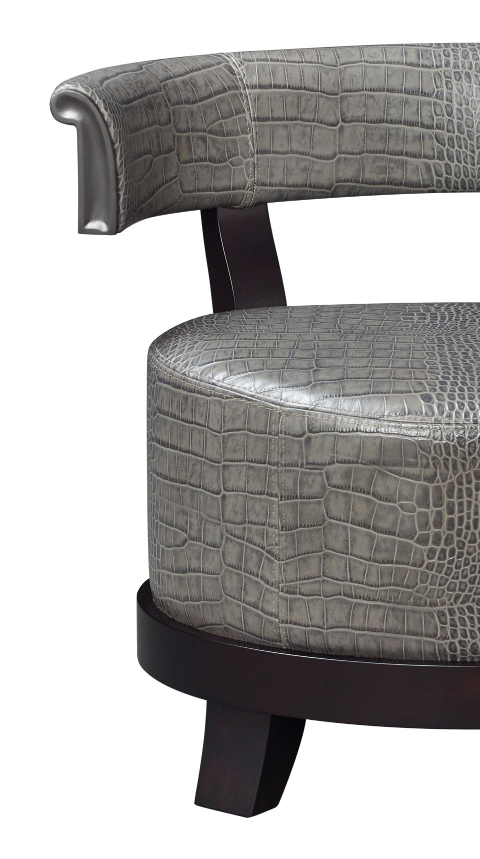 Detail of Chelsea, a wooden armchair covered in fabric or leather with bronze details, from Promemoria's catalogue | Promemoria