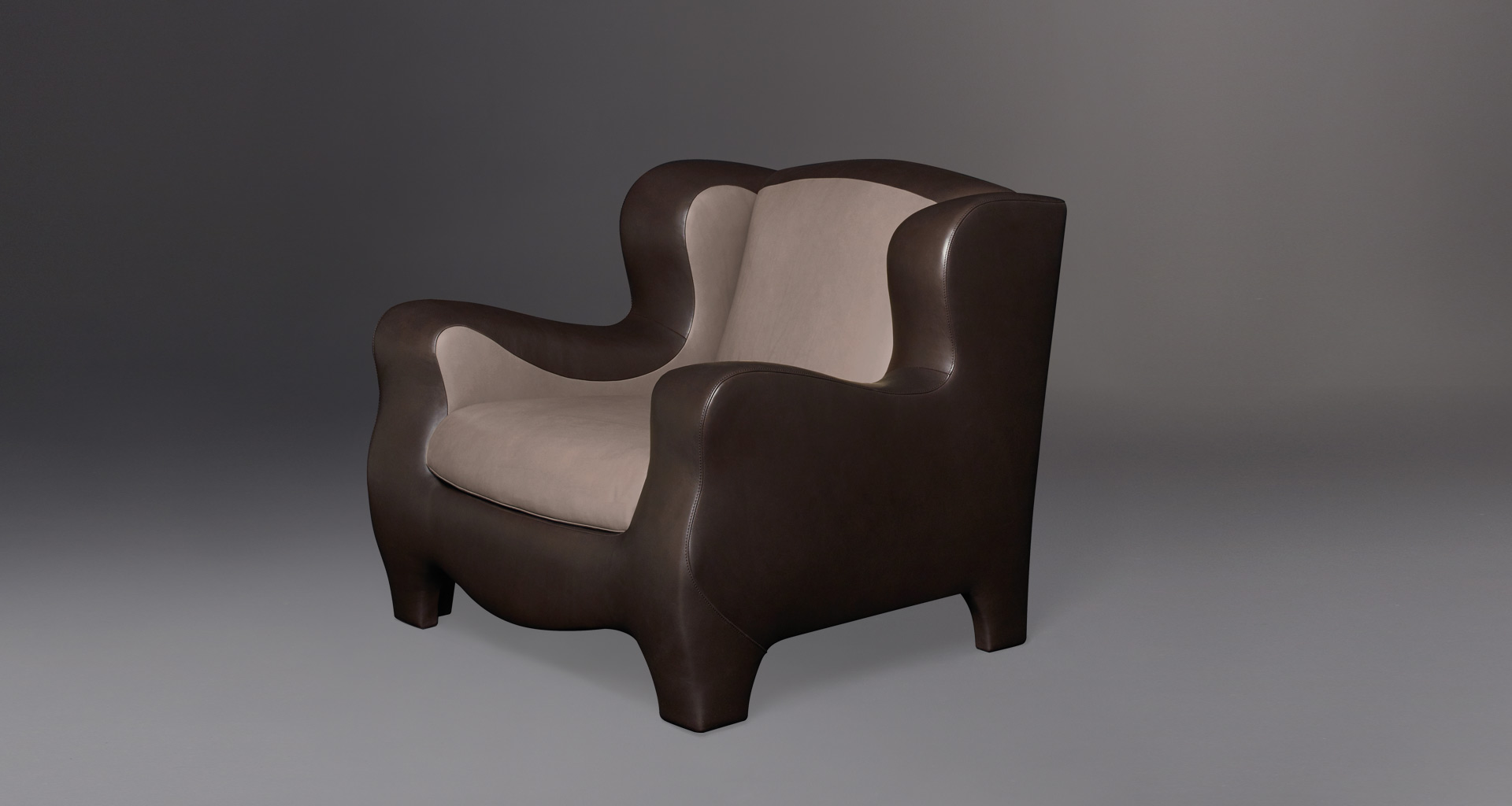 Club is an armchair with an inside covering in fabric or leather and an outer covering in leather, from Promemoria's catalogue | Promemoria