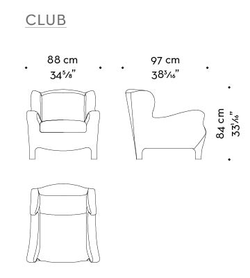 Dimensions of Club, an armchair with an inside covering in fabric or leather and an outer covering in leather, from Promemoria's catalogue | Promemoria