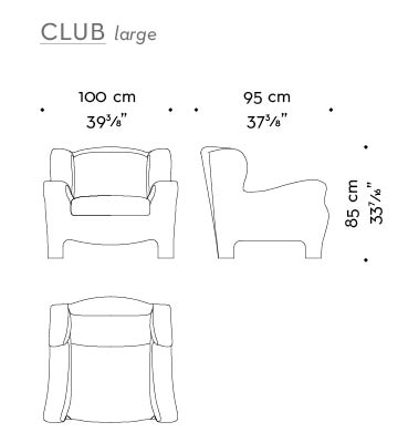 Dimensions of Club Large, an armchair with an inside covering in fabric or leather and an outer covering in leather, from Promemoria's catalogue | Promemoria
