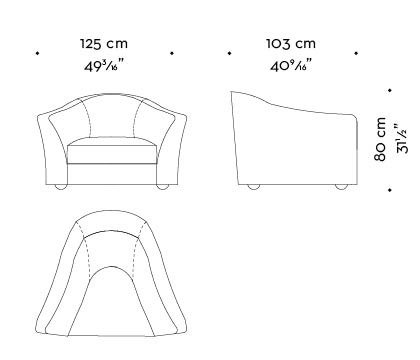 Dimensions of Fiore di Loto, an armchair for two covered in fabric or leather, from Promemoria's catalogue | Promemoria