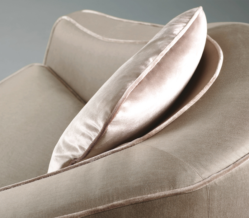 Detail of Fiore di Loto, an armchair for two covered in fabric or leather, from Promemoria's catalogue | Promemoria