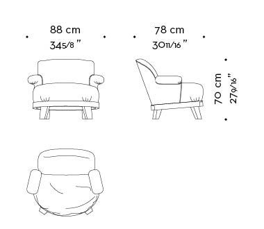 Dimensions of Gacy, a wooden armchair covered in fabric or leather, from Promemoria's catalogue | Promemoria